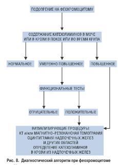 Рис 8. Диагностический алгоритм при феохромоцитоме