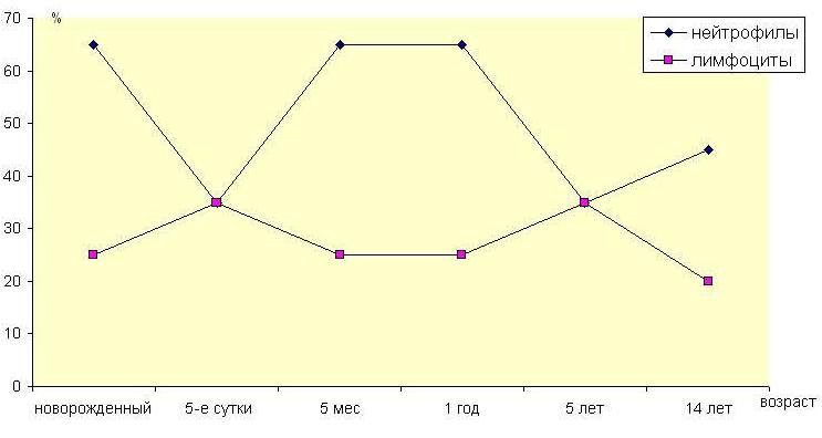 Физиологические процессы миело- и лимфопоэза в разные возрастные периоды развития детского организма