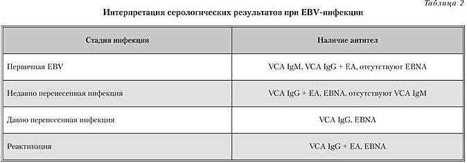 Интерпритация серологических результатов при EBV-инфекции