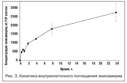Кинетика внутриклеточного поглощения энисамиума